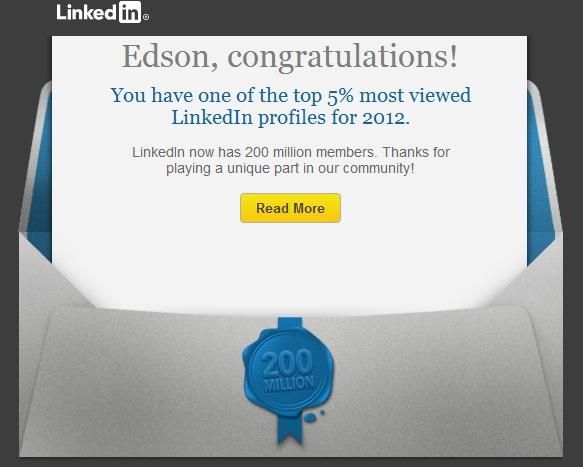 LinkedIn Top 5 !!! Estou na lista!!! (1/3)